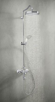 grohe rainshower 310 das duschsystem mit thermostat handbrause und gro er 310 mm kopfbrause. Black Bedroom Furniture Sets. Home Design Ideas