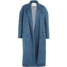 Sandy Liang Denim Coat (1.115 BRL) ❤ liked on Polyvore featuring outerwear, coats, jackets, tops, coats & jackets, blue, blue coat and denim coat