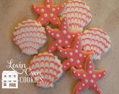 Starfish & Sea Shell Cookies  1 Dozen / Turquoise Wedding
