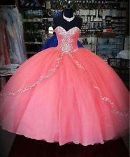 Coral con cuentas de la quinceañera Vestidos De 15 Años Boda Baile Bola Vestidos…