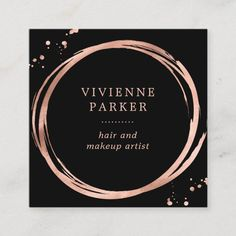 Glam Faux Rose Gold Look on Black Square Business Card High Quality Business Cards, Square Business Cards, Beauty Business Cards, Salon Business Cards, Gold Business Card, Makeup Artist Business Cards, Simple Business Cards, Business Card Design, Palet Exterior