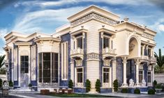 Blue palace Dieb Studio for Decor and Architecture AbdulRahman DIEB www.behance… Blue palace Dieb Studio for Decor and Architecture AbdulRahman House Balcony Design, House Front Design, House Design Photos, Classic House Exterior, Classic House Design, Modern House Design, Neoclassical Architecture, Modern Architecture House, Facade Architecture