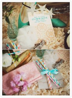 in love with these colors and the sparkle! pastel printed and decorative wedding elements