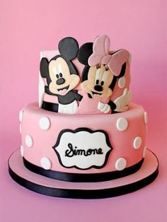 Mickey and Minnie Mouse cake Bolo Do Mickey Mouse, Mickey And Minnie Cake, Minnie Mouse Cookies, Minnie Mouse Birthday Cakes, Bolo Minnie, Mickey Cakes, Mickey Birthday, Baby Cakes, Girl Cakes