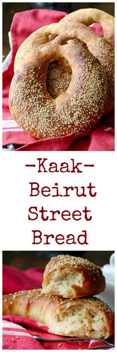 Kaak is a Lebanese street bread, shaped like a purse, coated in sesame seeds, and sold from carts by street vendors.