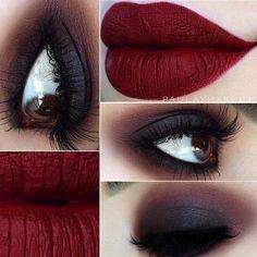 fall makeup @paulaxmakeup : dark black smokey eye into maroon, deep matte red lips