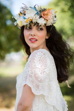 A Yellow & Blue, Authentic Mexican Inspired Bridal Shoot - All For Wedding Hair Style Bridal Shoot, Wedding Shoot, Chic Wedding, Wedding Hairstyles With Veil, Wedding Veils, Bridal Flowers, Unique Weddings, Bohemian Weddings, Floral Crown
