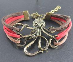 Octopus Bracelet---antique bronze octopus pendant octopus bracelet with colorful rope. $5.99, via Etsy.