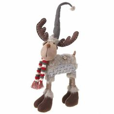Moose in Striped Scarf The Seasonal Aisle Tabletop Christmas Tree, Christmas Past, Christmas Countdown, Little Christmas, Christmas Snowman, Christmas Ornaments, Xmas, Reindeer Decorations, Christmas Decorations