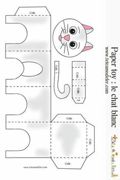 Cats Toys Ideas - Modle chat blanc imprimer - Ideal toys for small cats the white cat & agrave; Cat Crafts, Animal Crafts, Diy And Crafts, Crafts For Kids, Arts And Crafts, Ideal Toys, Paper Animals, Small Cat, Cat Party