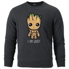 Avengers I'M GROOT Printed Sweatshirts Casual Hoodies Fleece Sweatshirt - dark gray 6 / L