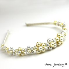 Pearl Daisy Floral Flower Bridal Wedding Tiara Hair Band White Cream Pearls Handmade