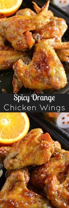 Spicy Orange Chicken Wings. Baked chicken wings slathered in an easy homemade spicy orange glaze will make any party a smash!