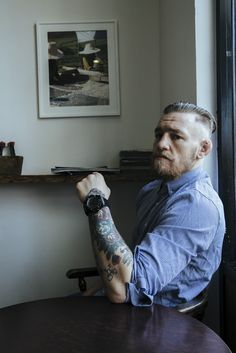 High Fade Long Slicked Back - Conor McGregor Inspired Haircuts Conor Mcgregor Haircut, Conor Mcgregor Style, Conor Mcgregor Tattoo, Bald With Beard, Beard Fade, Long Hair Beard, Short Beard, Connor Macgregor, Ryan Reynolds Haircut