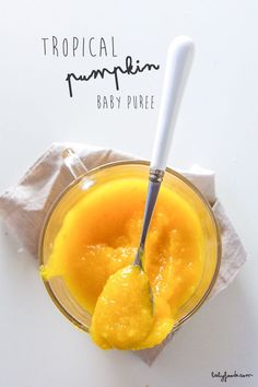Tropical Pumpkin Puree for Baby is a fun twist on the classic pumpkin puree  and is made with earthy pumpkin, citrusy pineapple, flavorful coconut and a  nice kick of ginger. You can serve it to baby as a puree, mixed it with Greek yogurt and top  with some granola for a fun mama snack or even