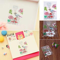 Flower Bird Pattern Cartoon Standard Stamp DIY Silicone Scrapbook Card Embossing Transparent Clear Stamp Template Decoration
