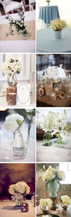 ideas for tables centres - don't want any gigantic pieces because I would like my guests to be able to speak to each other/ see each other :)