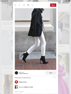 White jeans with black boots