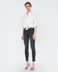 JEANS Z1975 SKINNY ROTOS Acid Wash Denim Jacket, Wardrobe Basics, Skinny, Collars, Organic Cotton, Jeans, Zara, Long Sleeve, Sleeves
