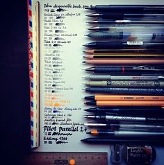 Seaweed Kisses: The Journal Diaries- Jose's Moleskine The idea of a photo of pens, pencils, art supplies, etc.