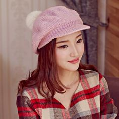 Fashion women cable knit hat Rabbit fur ball on the top winter cap