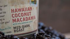 """Sip Hawaiian Coconut Macadamia!   ROAST: Medium-Dark FLAVOR: Tropical Aromatics, Floral Medley, Rich Nutty Tones ORIGINS: Asia, Central, North & South America  The nutty tones of Central and South American coffee are passionately blended with floral and fragrant beans from the big island of Hawaii, chewy slivers of coconut and the natural flavor of buttery-rich macadamia. We think it's pure """"Aloha""""."""