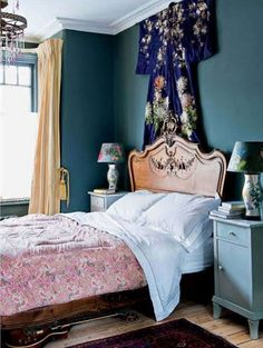 Bedroom by Alice Instone. Love the idea to use the kimono as decoration.