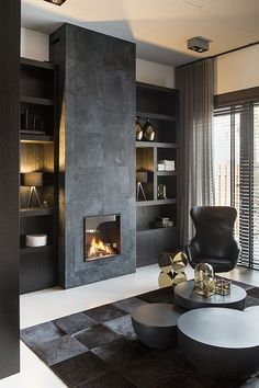 Residential interior design with a luxury / industrial combination, all custom made. Residential Interior Design, Home Interior, Living Room Interior, Home Living Room, Living Room Designs, Interior Architecture, Living Room Decor Elegant, Home Fireplace, Fireplace Design