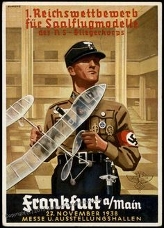 Propaganda card for the 1st Reich NSFK competition for Saalflugmodelle a