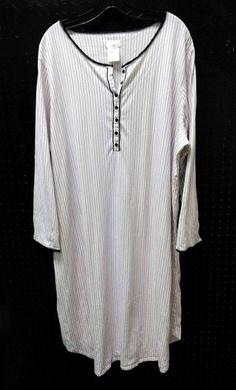 Secret Treasures Plus Size 3X 22W 24W Nightgown Stripes Dots Stretchy Pink Black…