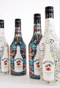 Colourful Malibu bottle design
