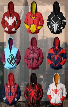 Spiderman Hoodies 3 by lumpyhippo on deviantART From Top Left: Ultimate Spider-Woman Jessica Drew 616 Spider-Woman Jessica Drew Arachne/Julia Carpenter/Anya Corazon Felicity Hardy Scarlet Spider (Hoodie) Felicity Hardy Scarlet Spider Mattie Franklin Spider-Woman Mayday Parker Spider-Girl/ Ben Reilly Spider-Man Earth X: Venom Anya Corazon