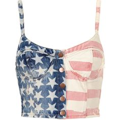 TOPSHOP MOTO Flag Print Denim Bralet ($10) ❤ liked on Polyvore featuring tops, shirts, crop tops, blusas, multi, bralette crop top, denim snap shirt, shirts & tops, crop top and shirt crop top