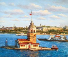 kız kulesi tablosu Istanbul City, Turkish Art, Z Arts, Old Town, Lighthouse, Amazing Art, Taj Mahal, Favorite Color, Watercolor