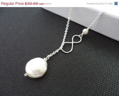 ON SALE Silver Infinity and Coin Pearl by weddingbellsdesigns, $29.44