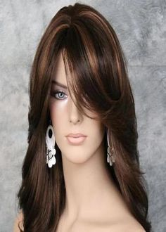 Trends Sexy Women Wig Mix Brown Highlighting Medium Wavy Synthetic Hair for sale online Medium Hair Styles, Curly Hair Styles, Hair Color Highlights, Womens Wigs, Hairstyles With Bangs, Updo Hairstyle, Bride Hairstyles, Hairstyle Ideas, Layered Hair