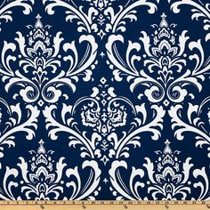 NAVY DAMASK YARDAGE  Navy Blue and White by PandaSewingBoutique, $12.00