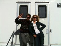 alexkingstonsrampantrabbit:  Alex Kingston? Arthur Darvill? What in the name of sanity???? Arthur's awkward wave, compared to Alex posing. Lol