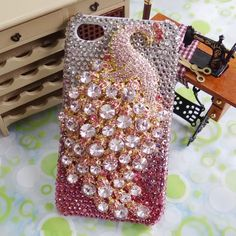 Handmade Bling Peacock Cover, iphone 4,4s case, Cell phone cover, Pink Swarovski Crystal iPhone Case, Rhinestone Case Accessories
