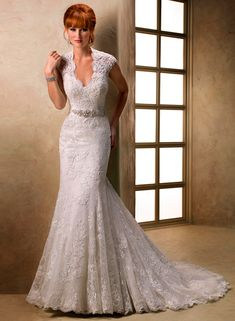 All Over Lace Embroidered High Neck Wedding Gown - How to Select Wedding Dresses for the Mature Bride - EverAfterGuide