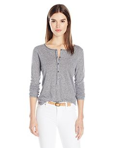 Calvin Klein Jeans Womens Long Sleeve Mini Stripe Henley Shirt Parisian Night XLARGE -- Read more  at the image link.Note:It is affiliate link to Amazon.