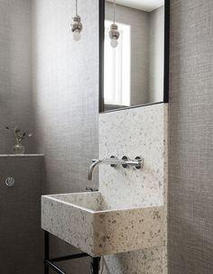 Terrazo Wall Bathroom Ideas - Home of Pondo - Home Design Steam Showers Bathroom, Bathroom Faucets, Washroom, Modern Bathroom, Small Bathroom, Bathroom Ideas, Minimalist Bathroom, Terrazo, Bathroom Design Inspiration