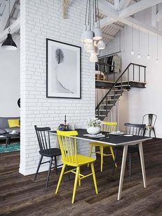 Fascinating Scandinavian style loft apartment in Prague I dream of lofts like this-M Scandinavian Loft, Scandinavian Interior Design, Home Interior, Interior Architecture, Interior Decorating, Brick Interior, Scandinavian Apartment, Apartment Interior, Studio Apartment