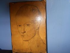 Rare Vintage Decoupage On Wood 1970's Piccasso Head Of A Boy #905 **REDUCED**