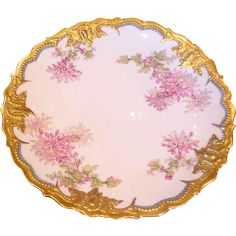 """French Limoges Large 14"""" Charger Gold & Flowers Dahlias c 1900 - 1920"""