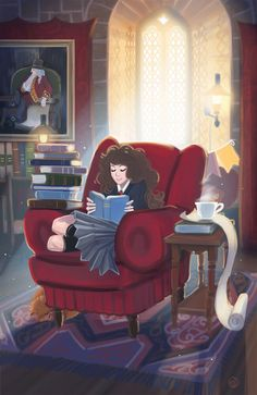 Hermione/Emma Watson READ poster - Take the challenge and join with our favorite Harry Potter gal. Estilo Harry Potter, Harry Potter Art, Ravenclaw, Hogwarts, Common Room, Hermione Granger, Book Nooks, I Love Books, Fantastic Beasts
