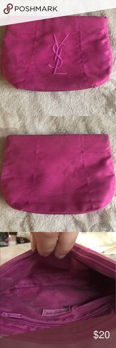 Yves Saint Laurent Magenta Cosmetics Bag Yves Saint Laurent Magenta Cosmetics Bag. Quite old and looks a little beat up inside but the exterior is in decent shape and it holds a ton of makeup! Yves Saint Laurent Bags Cosmetic Bags & Cases