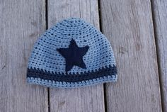 Cotton crocheted baby boy hat with star on Etsy, $15.00