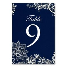 vintage white lace pattern navy blue wedding table number cards http://www.zazzle.com/themeweddingboutique*