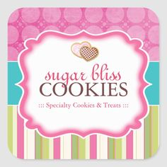 Cookie and Dessert - Packaging Stickers Cookie Packaging Stickers - Designed by Colourful Designs Inc. Dessert Packaging, Bakery Packaging, Cookie Packaging, Personalized Stickers, Custom Stickers, Packaging Stickers, Rack Card, Chocolate Packaging, Heart Cookies